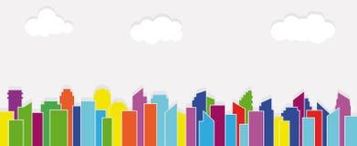 Edificio, nubes y panorama coloridos de la ciudad Ilustración del vector Fotografía de archivo libre de regalías