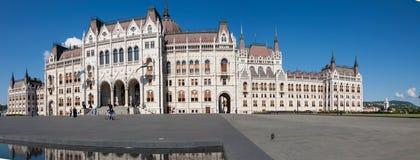 Edificio panorámico del parlamento, Hungría Foto de archivo libre de regalías