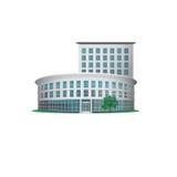 Edificio per uffici dell'icona con un'entrata e un albero Immagine Stock Libera da Diritti