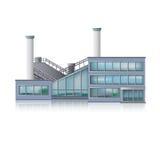 Edificio per uffici della fabbrica e dell'icona Immagini Stock Libere da Diritti