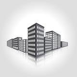 Edificio per uffici della fabbrica e dell'icona Fotografie Stock