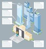 Edificio per uffici isometrico piano di vettore 3d Immagini Stock