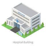 Edificio plano isométrico del hospital y de la ambulancia Aislado en el fondo blanco Imagenes de archivo