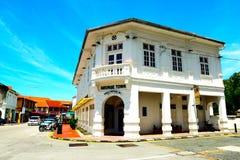 Edificio portugués del tipo de tela de algodón, ciudad de George, Penang Malasia Fotografía de archivo libre de regalías