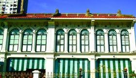 Edificio portugués del tipo de tela de algodón, ciudad de George, Penang Malasia Imagenes de archivo