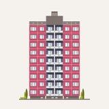Edificio prefabricado rosado moderno del panel construido en estilo arquitectónico soviético Exterior o fachada de la casa reside stock de ilustración