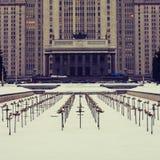 Edificio principal de la universidad de estado de Moscú Imágenes de archivo libres de regalías