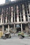 Edificio quemado del sindicato fotografía de archivo