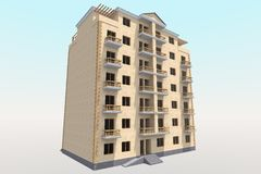 edificio residencial 3D Imagen de archivo libre de regalías