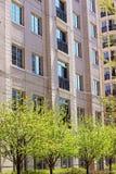 Edificio residencial del ladrillo rosado y árboles verdes Fotografía de archivo libre de regalías