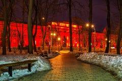 Edificio rojo con las luces Imágenes de archivo libres de regalías