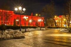 Edificio rojo con las luces Fotografía de archivo