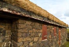 Edificio rural típico con el tejado natural de la hierba y el abedul de plata Foto de archivo libre de regalías