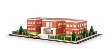 Edificio scolastico, bus ed iarda anteriore Illustrat piano di stile Fotografia Stock Libera da Diritti