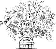 Edificio scolastico con gli scarabocchi Fotografia Stock Libera da Diritti