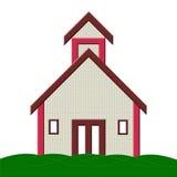 Edificio scolastico con l'illustrazione dell'erba Fotografia Stock