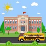 Edificio scolastico e bus illustrazione di stock