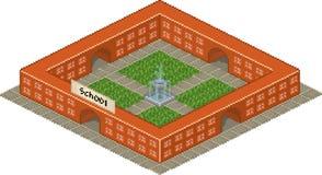 Edificio scolastico nello stile di arte del pixel Fotografia Stock Libera da Diritti