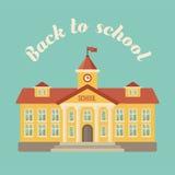 Edificio scolastico sul fondo blu Fotografia Stock