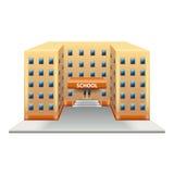 Edificio scolastico sul vettore bianco Fotografie Stock Libere da Diritti