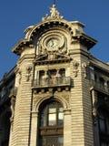 Edificio Sunlit de la torre de reloj en Ciudad de México Fotos de archivo libres de regalías