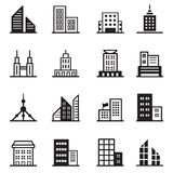 Edificio, torre, iconos arquitectónicos Foto de archivo libre de regalías