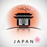 Edificio tradicional japonés con Sakura Silueta del vector Imagen de archivo libre de regalías