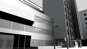 Edificio urbano de la animación blanco y negro libre illustration