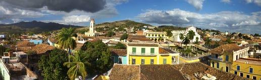 Edificio viejo del paisaje de Trinidad Cuba Old Town Wide de la arquitectura colonial española panorámica del vintage fotografía de archivo libre de regalías