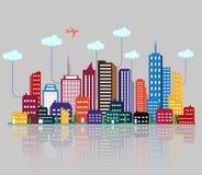 Edificio y ciudad coloridos stock de ilustración