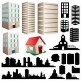 Edificio y conjunto del paisaje urbano stock de ilustración