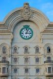 Edificio y reloj del centro de ciudad Fotografía de archivo libre de regalías