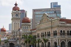 Edificio y señal históricos a lo largo del rajá de Jalan adentro del cuadrado de Dataran Merdeka, Kuala Lumpur, Malasia Imágenes de archivo libres de regalías