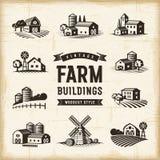 Edificios agrícolas del vintage fijados