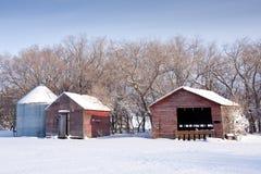 Edificios agrícolas en invierno Fotografía de archivo