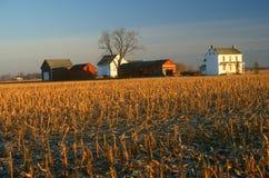 Edificios agrícolas y campo en invierno Imagen de archivo