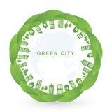 Edificios aislados de la ciudad en diseño verde de la hoja Imagenes de archivo