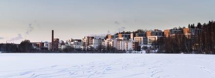 Edificios altos en paisaje del invierno Foto de archivo libre de regalías