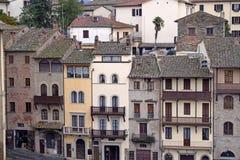 Edificios antiguos de Arezzo tomados del cuadrado grande - Toscana Fotografía de archivo