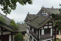 Edificios antiguos de la montaña del qingcheng de Sichuan Fotografía de archivo libre de regalías