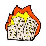 edificios ardientes de la historieta cómica Fotografía de archivo libre de regalías