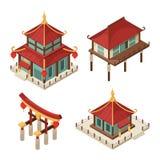 Edificios asiáticos isométricos Arquitectura japonesa tradicional del vector 3d del shintoism del tejado de la pagoda de las casa stock de ilustración