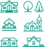 Edificios, casas, iglesia cristiana e illu de los árboles stock de ilustración