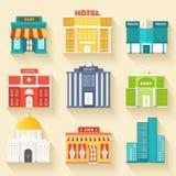 Edificios coloridos planos del sity del vector fijados Iconos Imagen de archivo