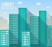 Edificios coloridos planos del sity del vector fijados Iconos Imagen de archivo libre de regalías