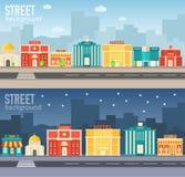 Edificios coloridos planos del sity del vector fijados Iconos Fotografía de archivo