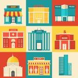 Edificios coloridos planos del sity del vector fijados Iconos Foto de archivo libre de regalías