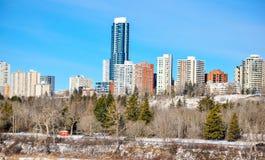 Edificios comerciales en Edmonton céntrica foto de archivo