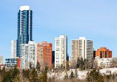 Edificios comerciales en Edmonton céntrica fotos de archivo libres de regalías