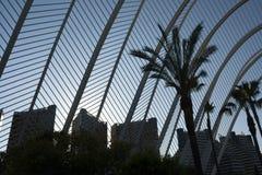 Edificios con el Umbracle en Valencia imágenes de archivo libres de regalías
